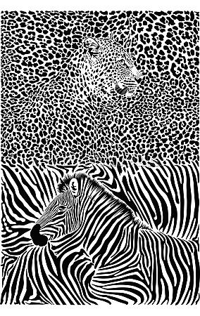 leopard und zebra mit hintergrund