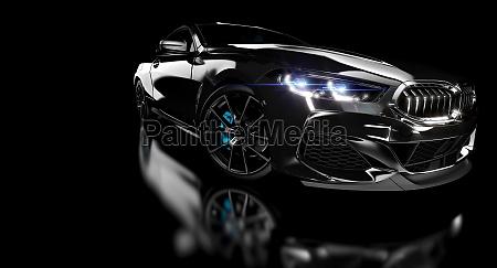 schwarzer luxus sportwagen auf dunklem hintergrund