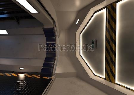 3d rendering science fiction korridor