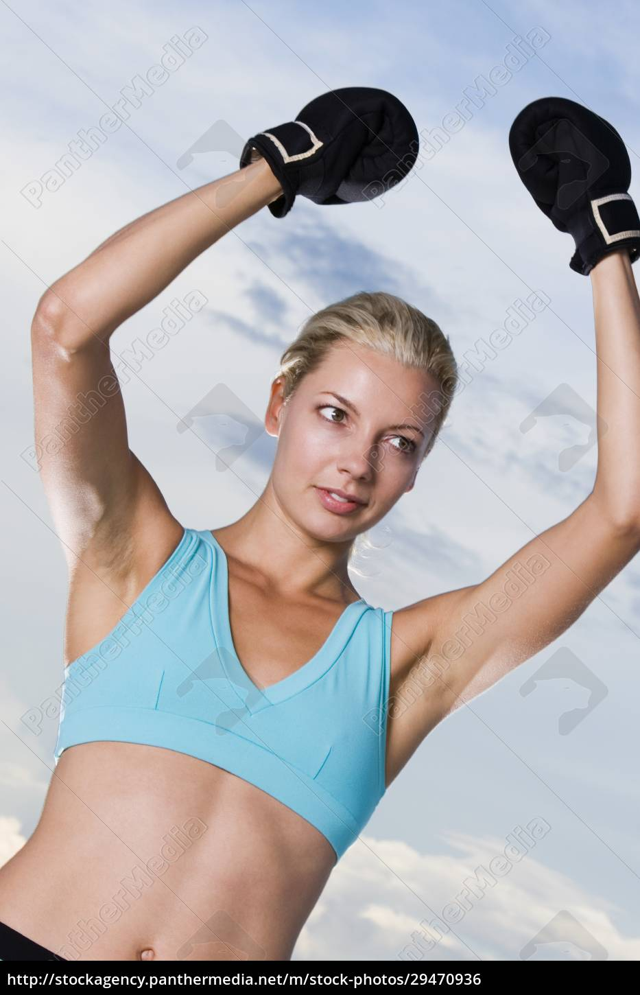 young, woman, wearing, boxing, gloves - 29470936