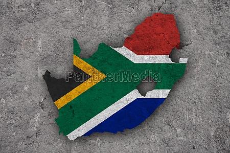 karte und flagge von suedafrika auf