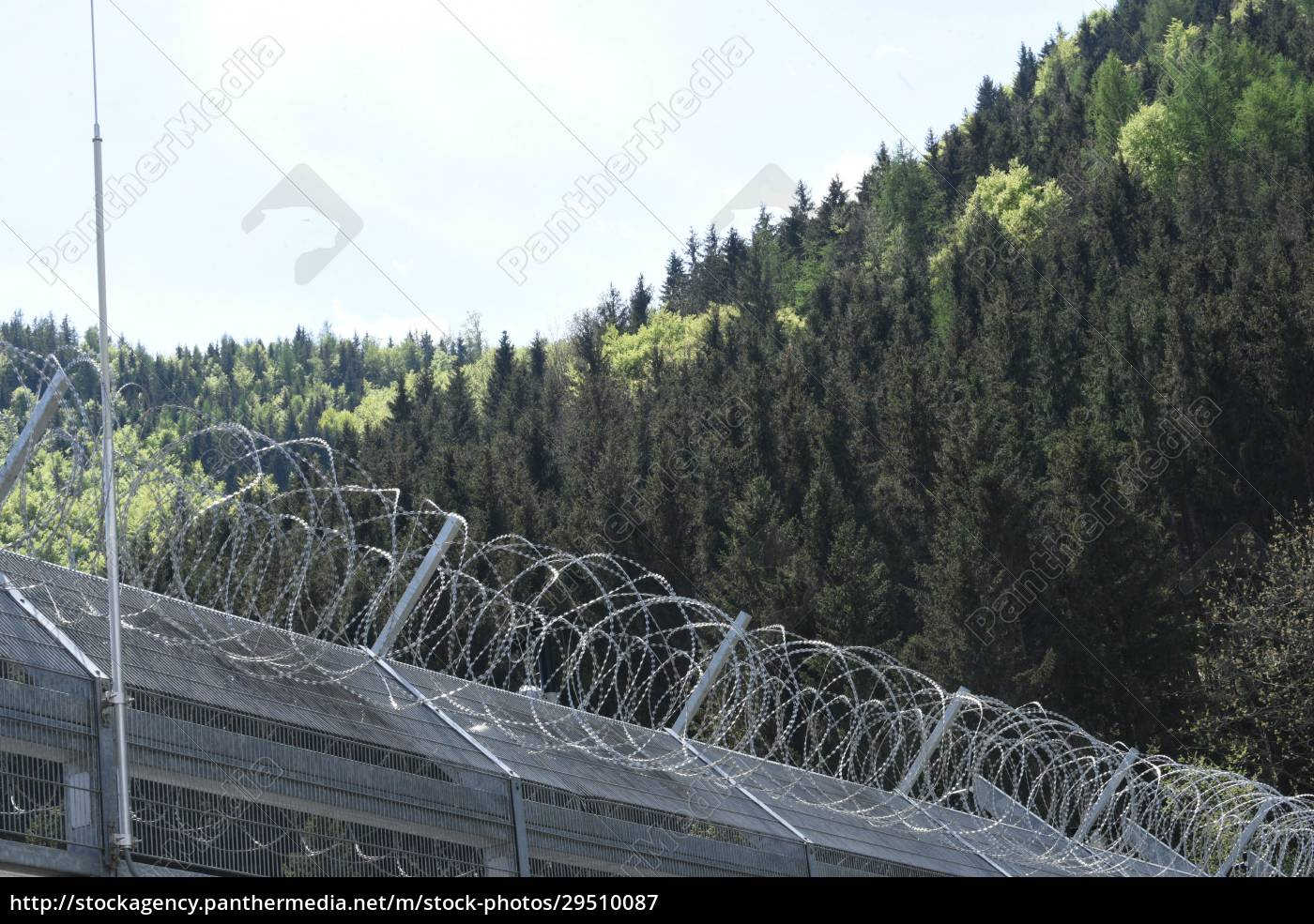 barbed, wire, fence, as, security, measurement - 29510087