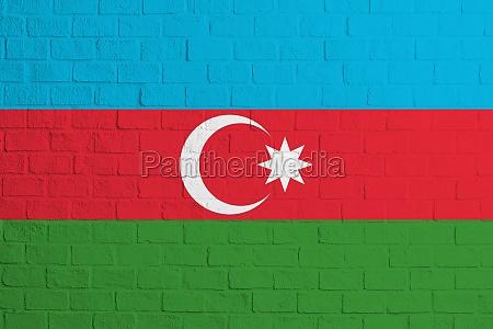 flagge von aserbaidschan ziegelwand textur der