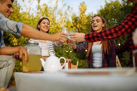 freunde klinken glaeser am tisch picknick