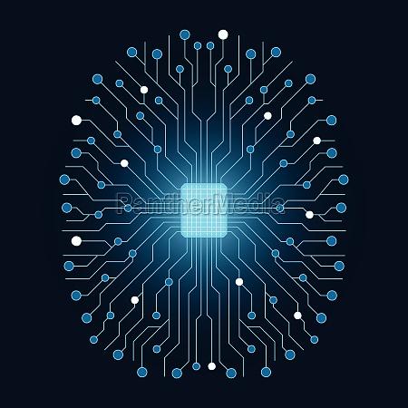 gehirn neuron kuenstliche intelligenz mikrochip prozessor
