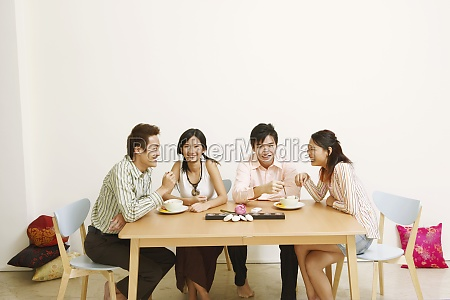 two, young, couples, eating, noodles, and - 29602971
