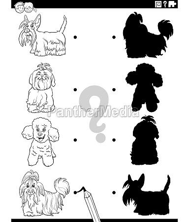 schatten aufgabe mit cartoon reinrassigen hunden