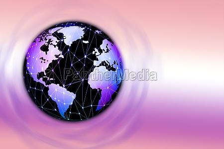 globus mit angeschlossenen leuchtpunkten