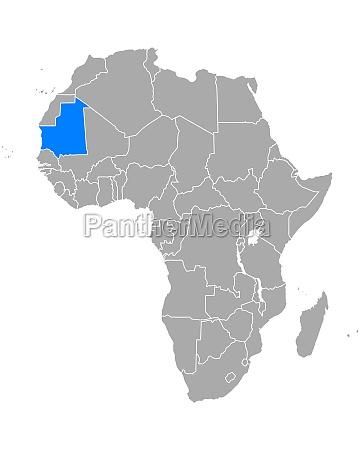 karte von mauretanien in afrika