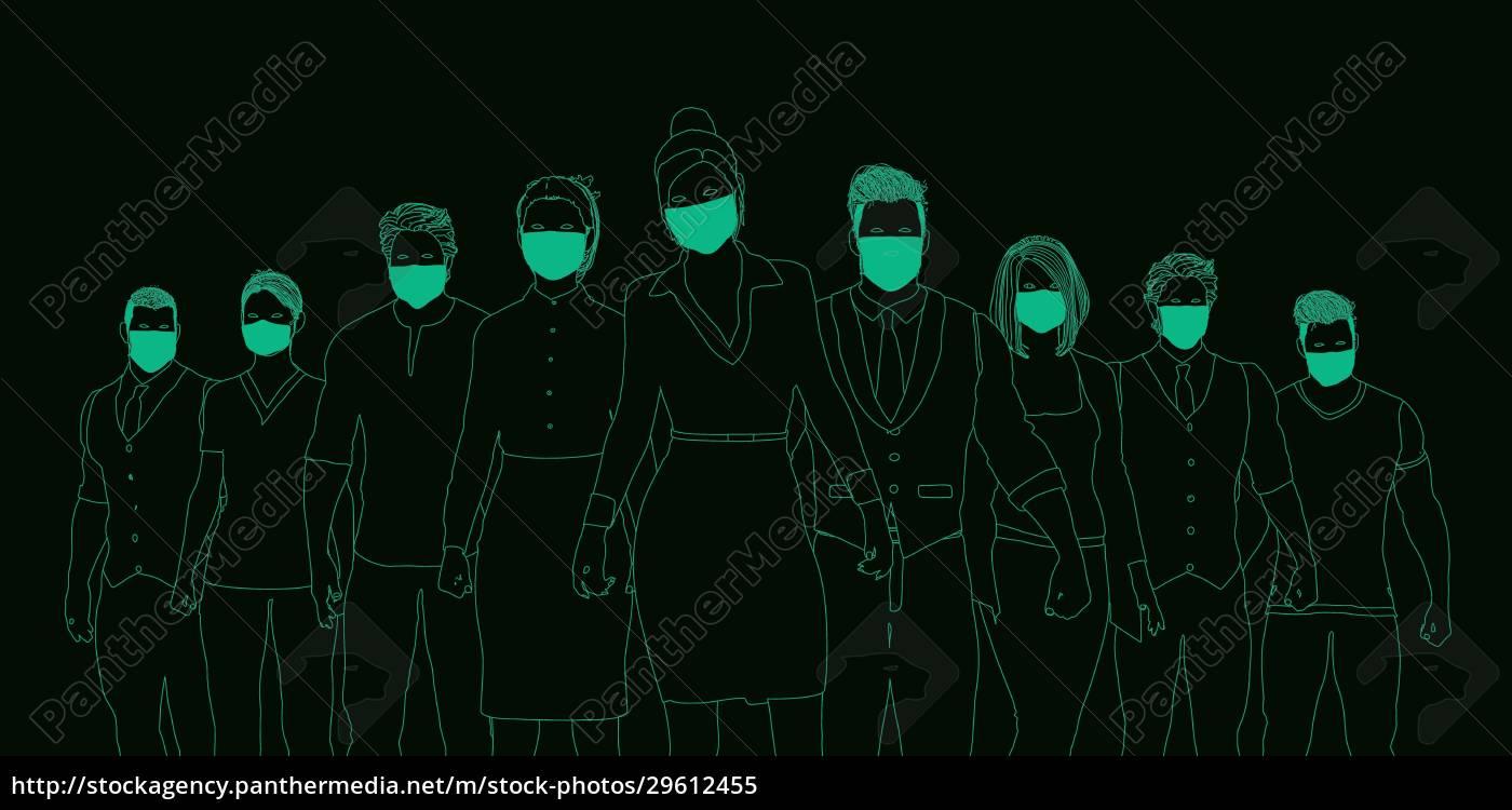 geschäftsleute, die, medizinische, masken, tragen - 29612455