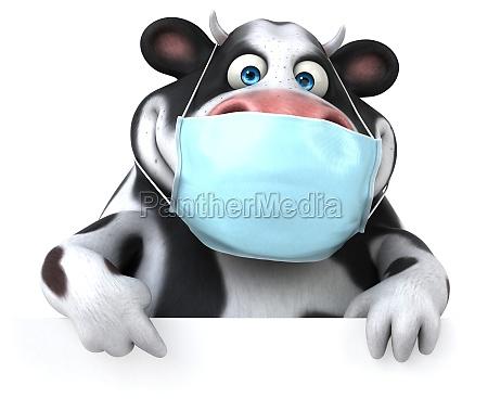 spass 3d cartoon kuh mit einer