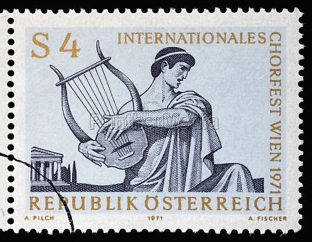 stempel gedruckt in OEsterreich zeigt saenger