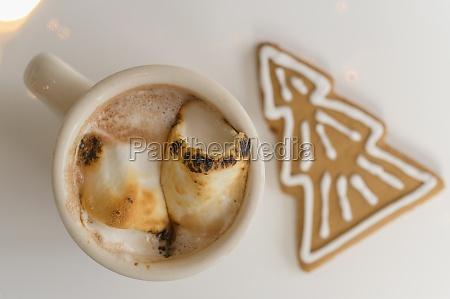heisser kakao mit lebkuchen cookie