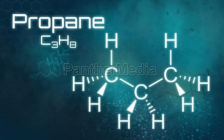 chemische formel von propan auf einem
