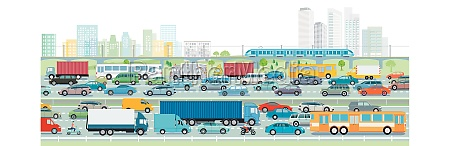 autobahn vor einer grossstadt illustration