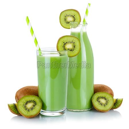 gruener smoothie fruchtsaft trinken strohkiwi in