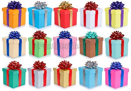 geburtstagsgeschenke weihnachtsgeschenke sammlung hintergrund isoliert auf