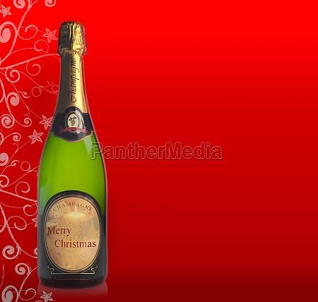flasche, champagner, mit, dem, etikett,