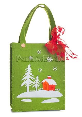 stofftasche mit weihnachtsdekoration