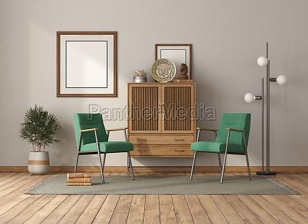 vintage wohnzimmer mit schublade sideboard und