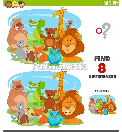 differences, educational, game, with, cartoon, animals - 29667858