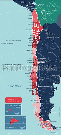 chile land detaillierte bearbeitbare karte