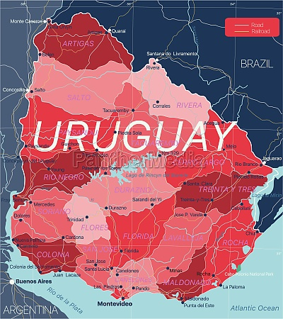 uruguay land detaillierte bearbeitbare karte
