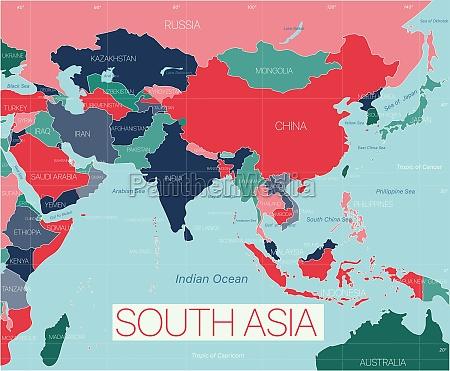 suedasien region detaillierte bearbeitbare karte