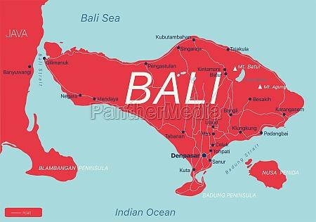 bali land detaillierte bearbeitbare karte