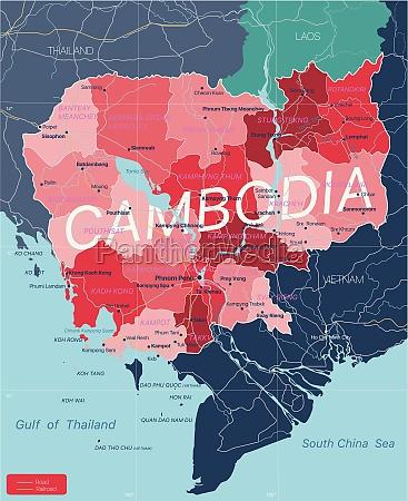 kambodscha land detaillierte bearbeitbare karte