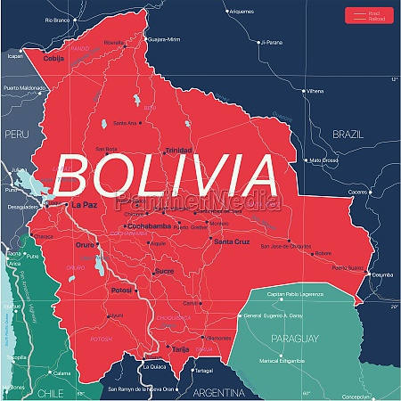 bolivien land detaillierte bearbeitbare karte
