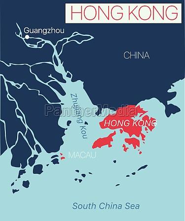 hong kong detaillierte bearbeitbare karte