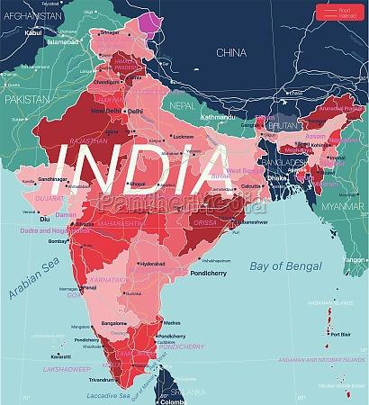indien land detaillierte bearbeitbare karte