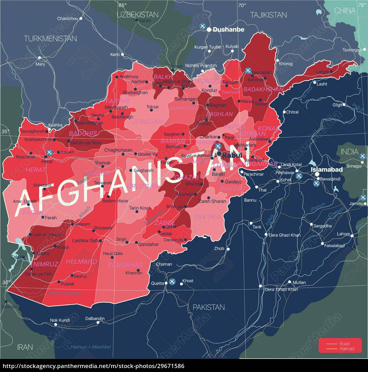 afghanistan, country, detailed, editable, map - 29671586