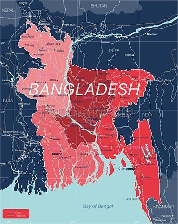 bangladesh, country, detailed, editable, map - 29671589