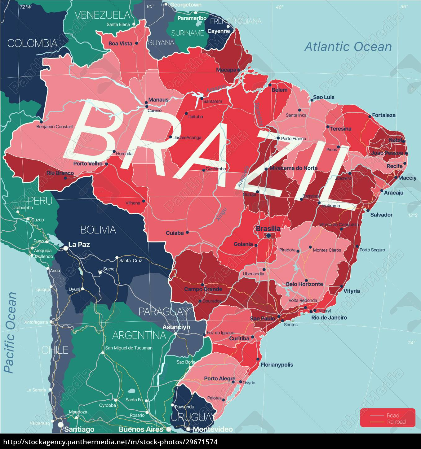 brazil, country, detailed, editable, map - 29671574
