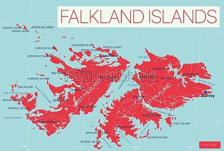falkland, islands, detailed, editable, map - 29671578