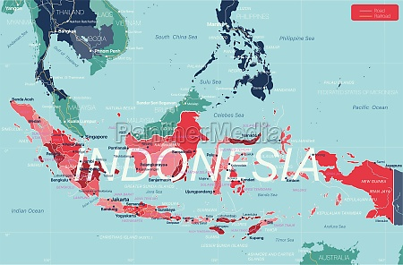 indonesia, country, detailed, editable, map - 29671638
