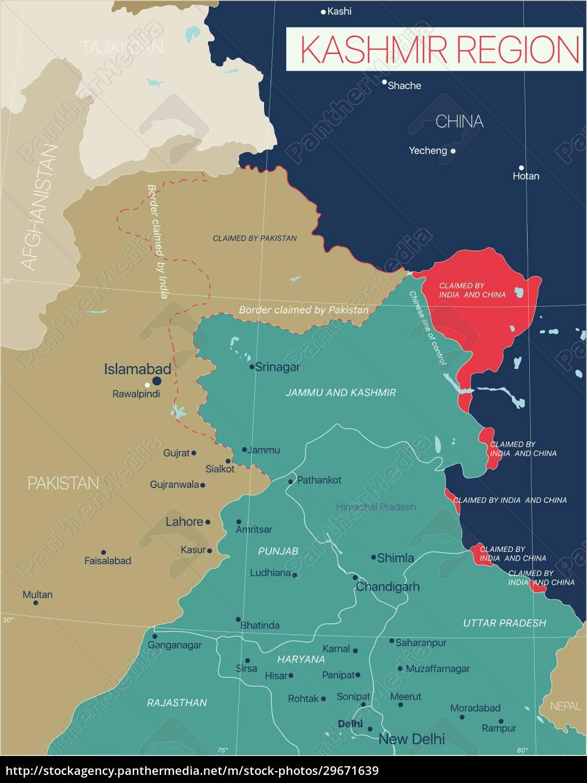kashmir, region, detailed, editable, map - 29671639