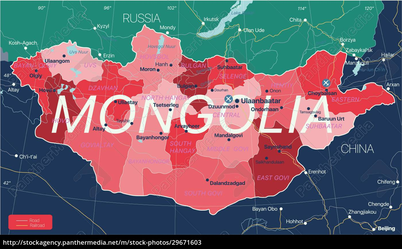 mongolia, country, detailed, editable, map - 29671603