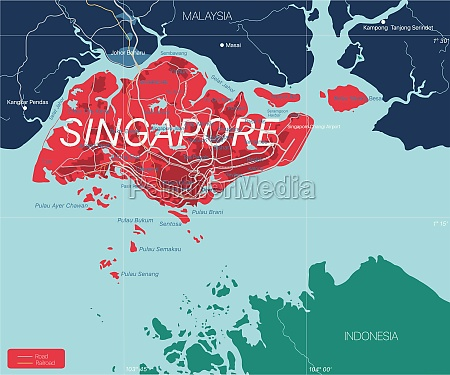 singapur, detaillierte, bearbeitbare, karte - 29671609
