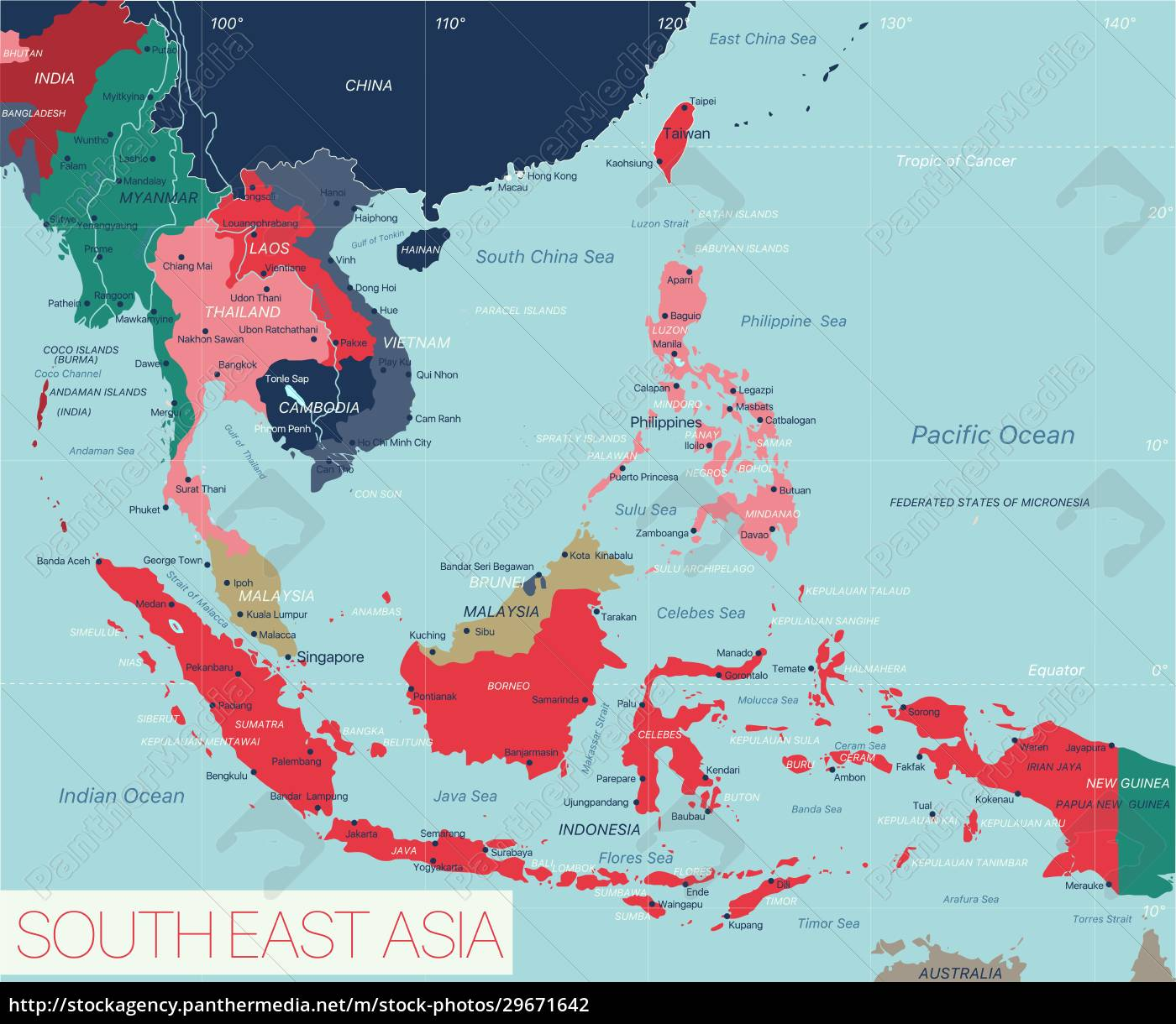 south, east, asia, region, detailed, editable - 29671642