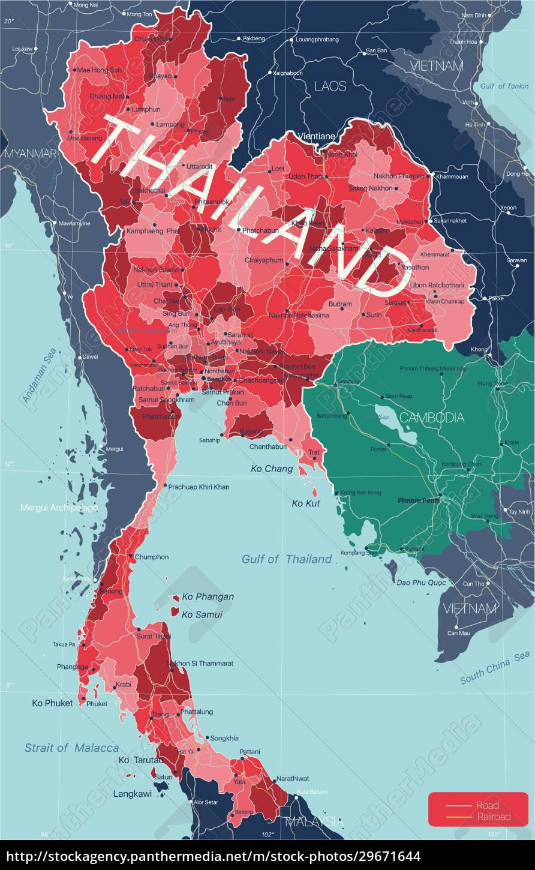 thailand, land, detaillierte, bearbeitbare, karte - 29671644