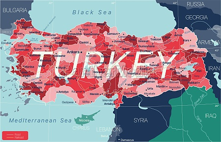 turkey, country, detailed, editable, map - 29671645