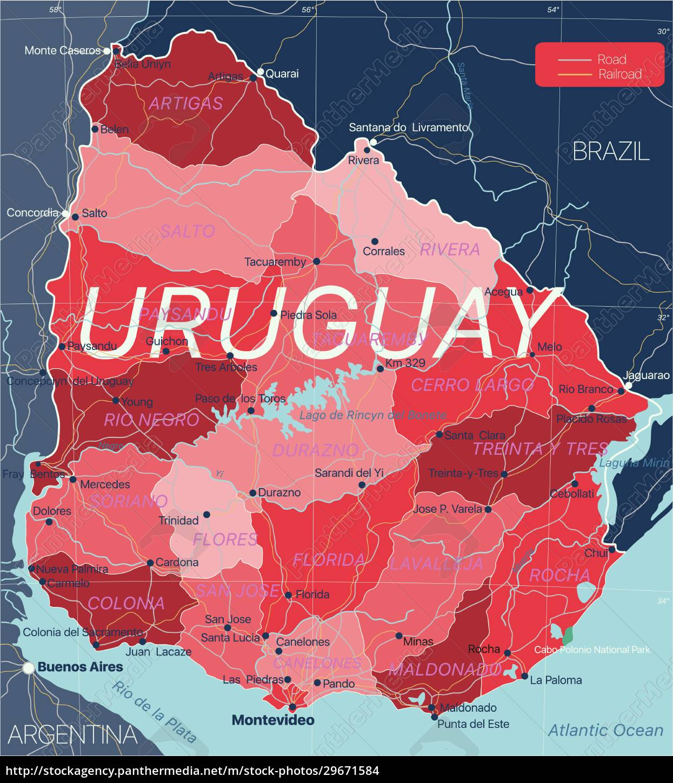 uruguay, land, detaillierte, bearbeitbare, karte - 29671584
