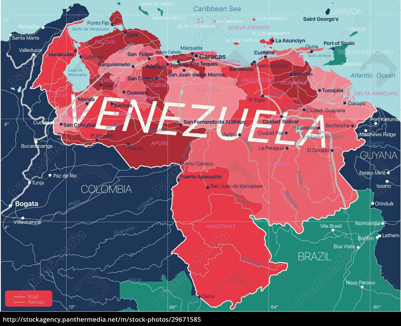 venezuela, country, detailed, editable, map - 29671585