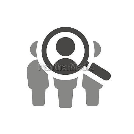 lupe mit personen suche vektor symbol