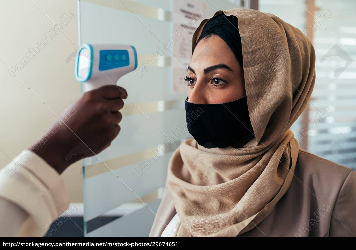 woman, having, temperature, check - 29674651