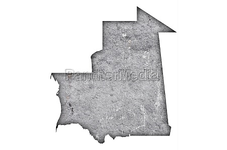 karte von mauretanien auf verwitterten beton