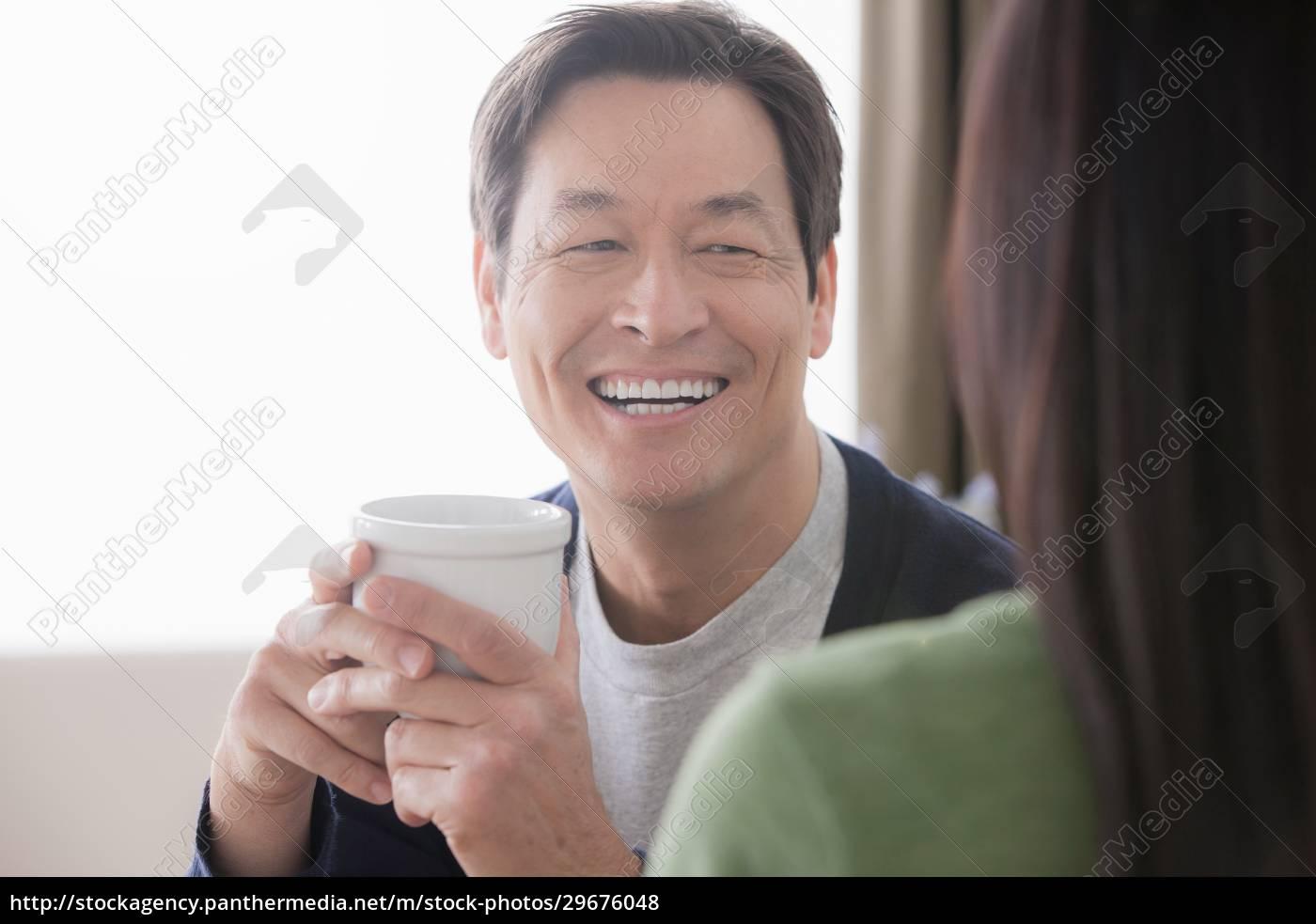 reife, serann, paar, mann, hält, kaffee - 29676048